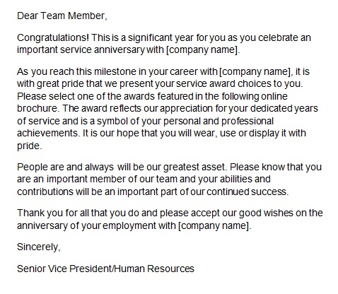 recognition letter for service anniversary