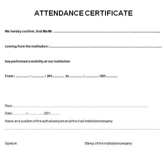 certificates of attendance template 11