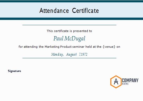 certificates of attendance template 12
