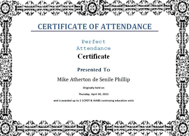 certificates of attendance template 13