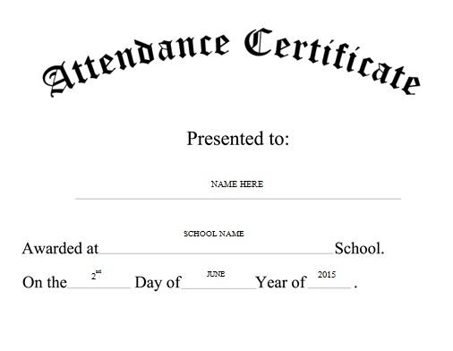 certificates of attendance template 16