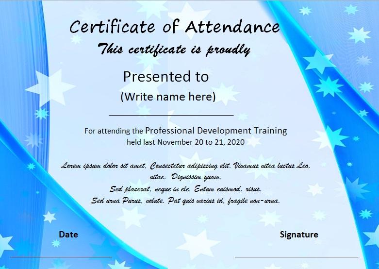certificates of attendance template 19