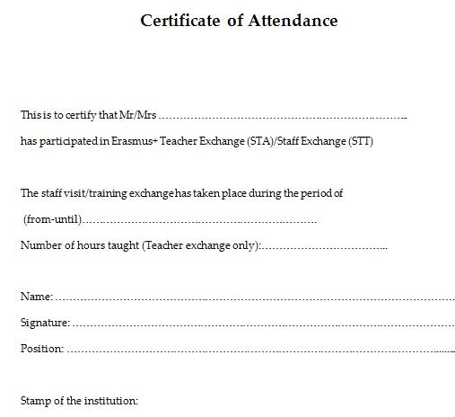 certificates of attendance template 2