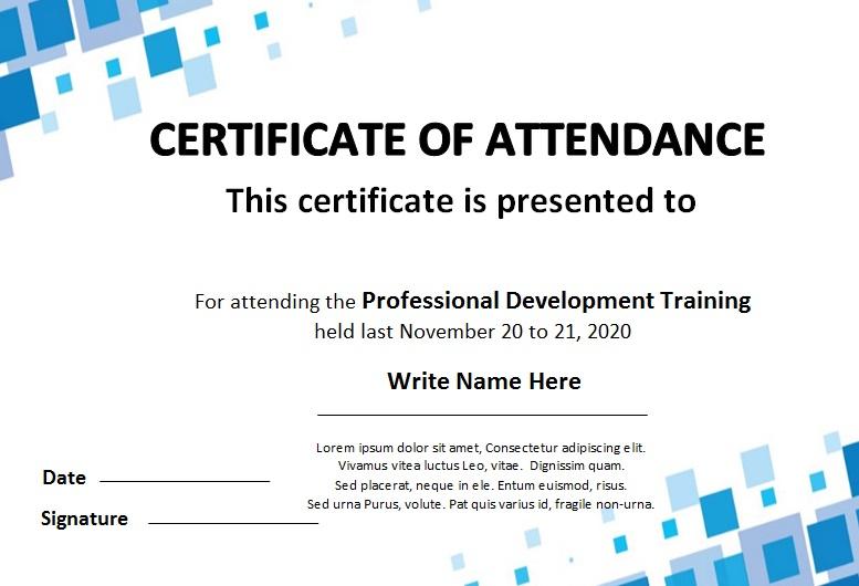 certificates of attendance template 22