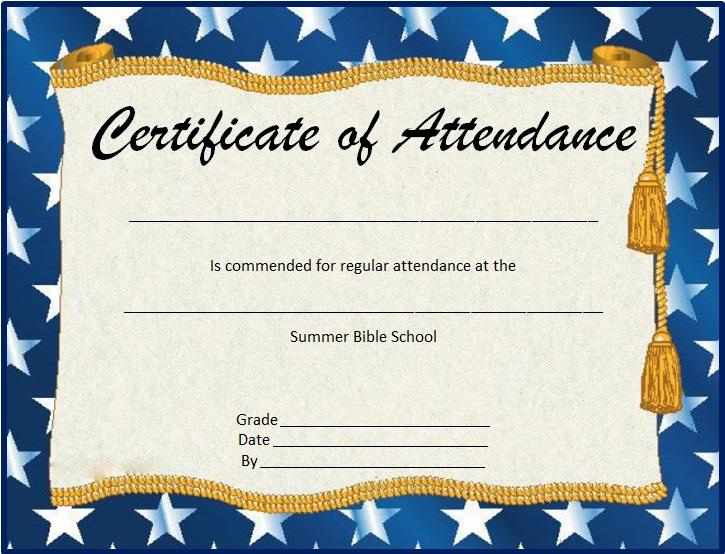 certificates of attendance template 23