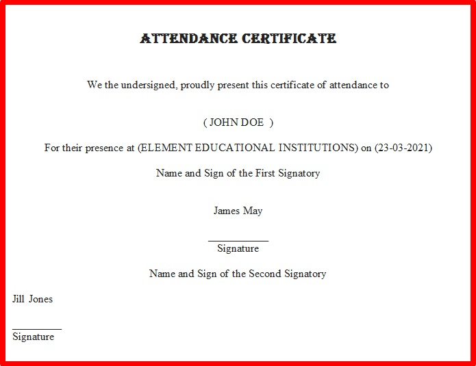 certificates of attendance template 29