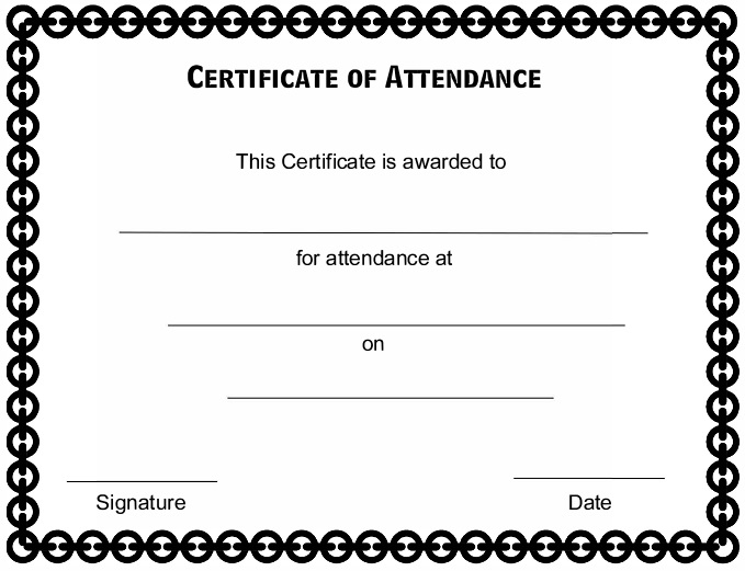 certificates of attendance template 32