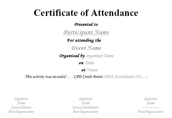certificates of attendance template 5