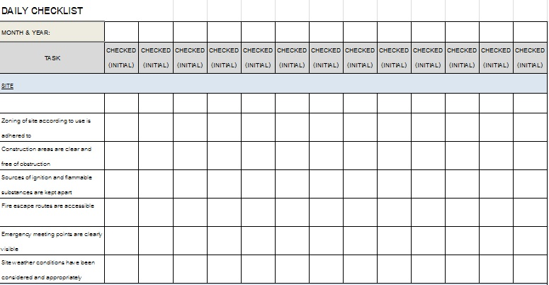 checklist template 1