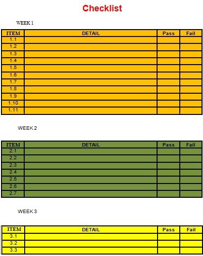 checklist template 29