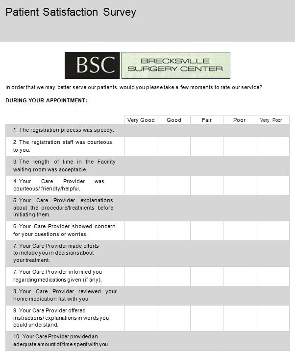patient satisfaction survey template 20