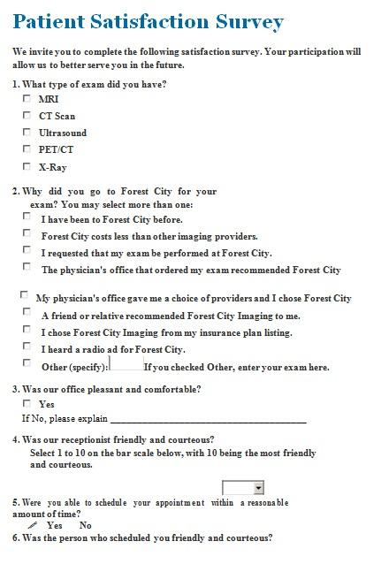 patient satisfaction survey template 7